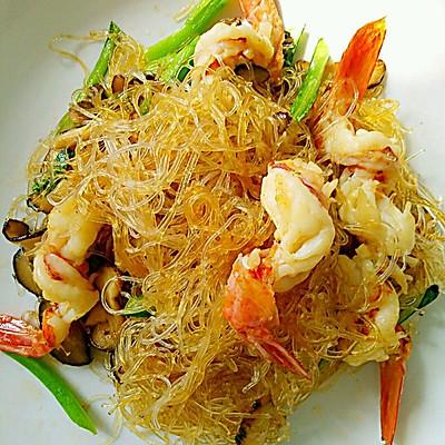 海虾蘑菇炒粉丝