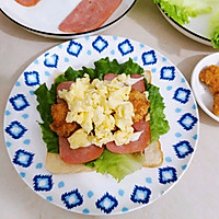 #尽享安心亲子食刻#盐酥鸡滑蛋三明治的做法图解6