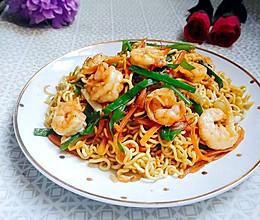 虾仁炒面#小虾创意料理#