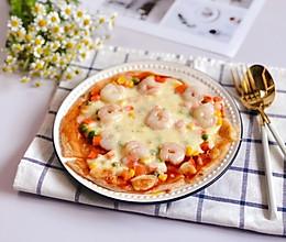 手抓饼版蔬菜虾仁披萨的做法