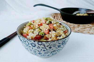蒜火腊肠青菜饭