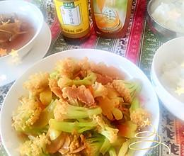 #太太乐鲜鸡汁芝麻香油#,鸡汁菜花炒肉片的做法