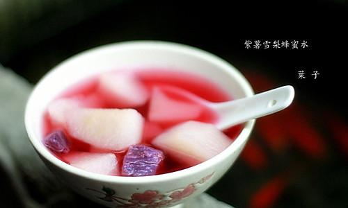 紫薯雪梨蜂蜜水的做法