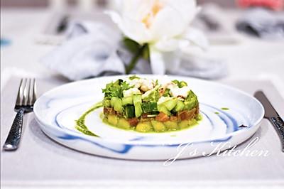 青柠香菜汁蟹肉沙拉塔