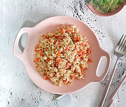 快手早餐,鸡肉胡萝卜炒饭的做法
