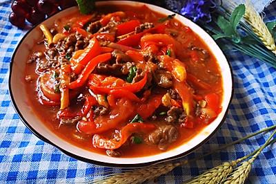 番茄炒牛肉。