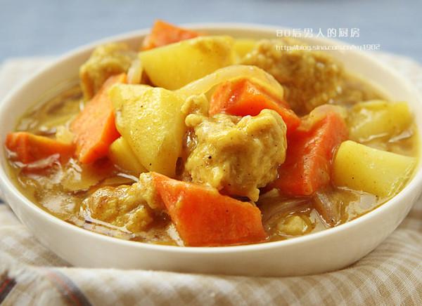 咖喱肉丸汤的做法