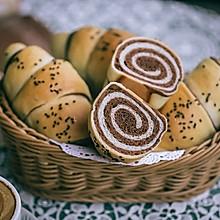 100%奶油可可双色面包卷(一发,不加一滴水)