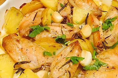 迷迭香土豆洋葱烤鸡中翅