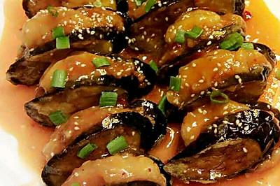 肉末茄子酿虾仁。