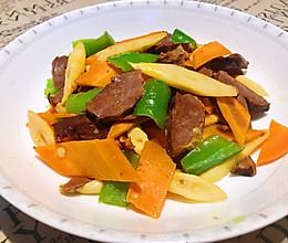 青椒胡萝卜炒猪心的做法