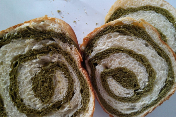 抹茶双色面包的做法