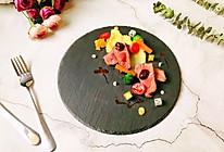 #精品菜谱挑战赛#黑椒西冷牛排  鸡汁土豆泥  蔬果沙拉的做法