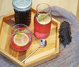 创意饮品 紫苏苏打水,清新、高颜值,来自MUJI餐厅热销品的做法