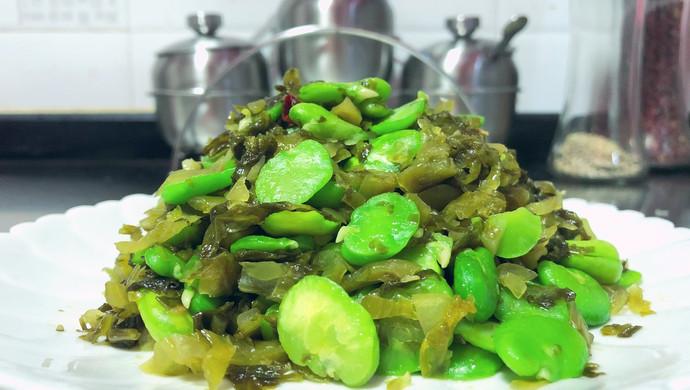 酸菜炒蚕豆米