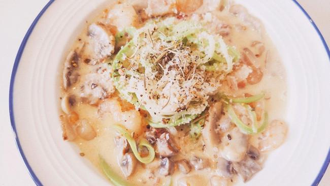 生酮减脂 | 伪奶油蘑菇培根面㊙️好吃舔盘的做法