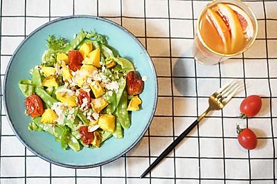 烤蔬菜小扁豆坚果沙拉配葡萄柚蜜茶