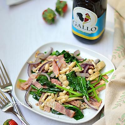 橄露Gallo经典特级初榨橄榄油试用之四  培根菌菇沙拉