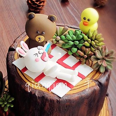 布朗熊和可妮兔的森林假期(翻糖多肉)