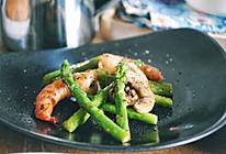 鲜虾芦笋烤蘑菇配汤的做法