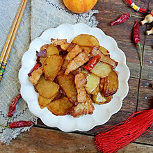 #憋在家里吃什么#干煎五花肉土豆片,让你连吃三顿都吃不够!