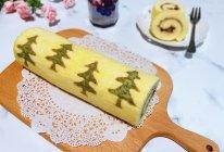#令人羡慕的圣诞大餐#蓝莓酱圣诞树蛋糕卷的做法