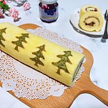 #令人羡慕的圣诞大餐#蓝莓酱圣诞树蛋糕卷