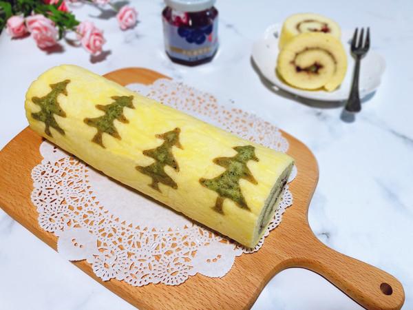 蓝莓酱圣诞树蛋糕卷的做法