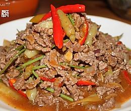 野山椒香菜牛肉丝的做法