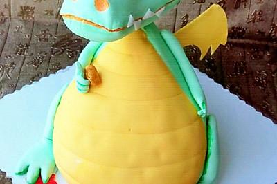 翻糖蛋糕--财神小恐龙