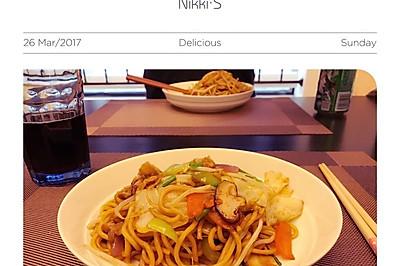 蔬菜酱油炒面