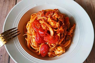 10分钟大餐之番茄鸡丝意大利面,浓郁爽口,减肥必备,零失败!