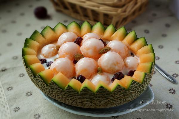 ~哈密瓜酸奶~美味果盘简单做的做法