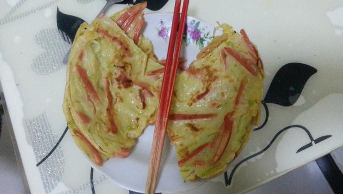 简单的懒人快手早餐午餐~百吃不厌 锅塌子 (西葫芦丝鸡蛋饼)