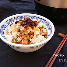 杂蔬火腿香菇饭#九阳铁釜烧饭就是香#