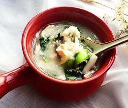 鸡丝菌菇青菜粥的做法