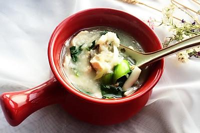 鸡丝菌菇青菜粥