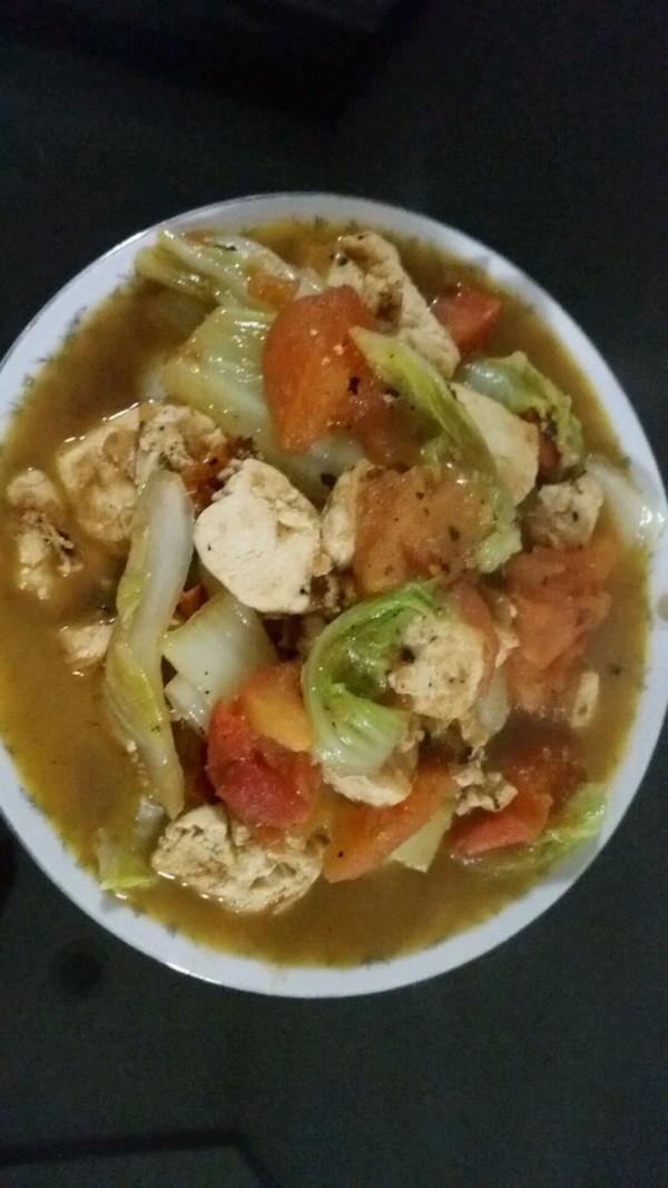 番茄白菜炖豆腐的做法