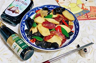 廣東年味菜-臘腸山藥炒木耳