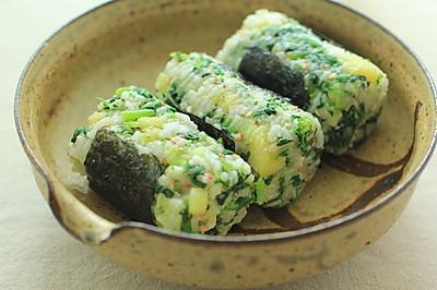 #Tella轻生活# 茼蒿土豆糙米饭团