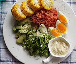 轻脂健身蔬菜沙拉的做法