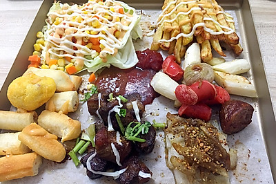 晚餐(牛肉 土豆 山药 薯条 红肠 烤肠)