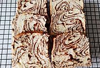 大理石花纹豆沙吐司,一次发酵,松软筋道拉丝,超级漂亮!的做法