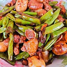 肉蛋烧豆角+香菇炝白菜