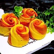 #年味十足的中式面点#双色南瓜玫瑰花馒头