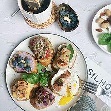 #我们约饭吧#周末边角料开放式法棍三明治