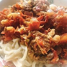 新疆美食——辣皮子肉拌面
