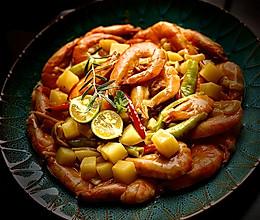 椰浆咖喱虾的做法