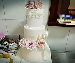 婚礼翻糖蛋糕  #约会MOF#的做法