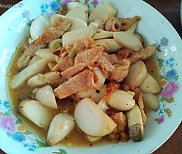 豆瓣酱鸡腿菇炒肉的做法